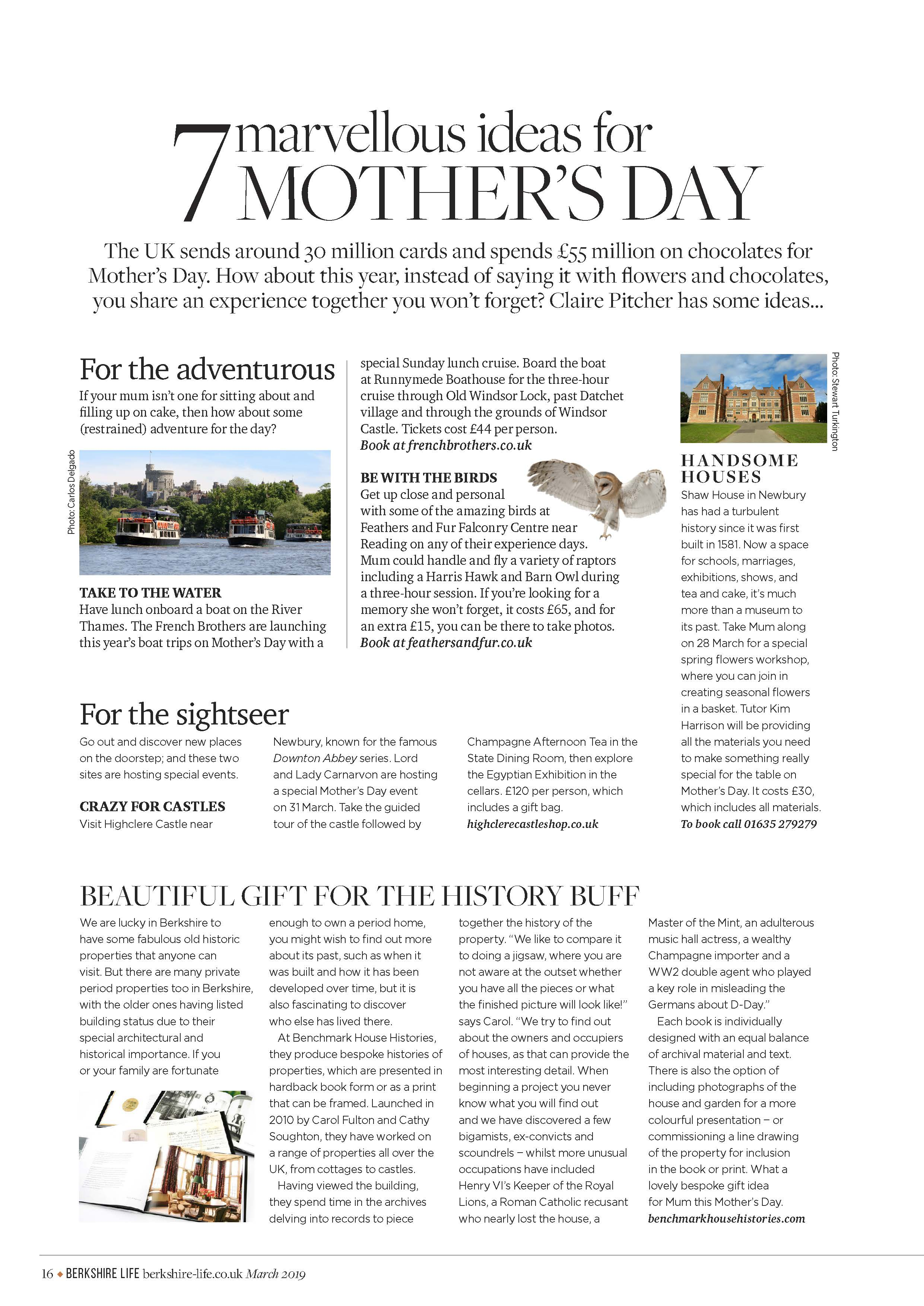 7 MARVELOUS IDEAS FOR MOTHER'S DAY! Berkshire Life - March 2019 issue