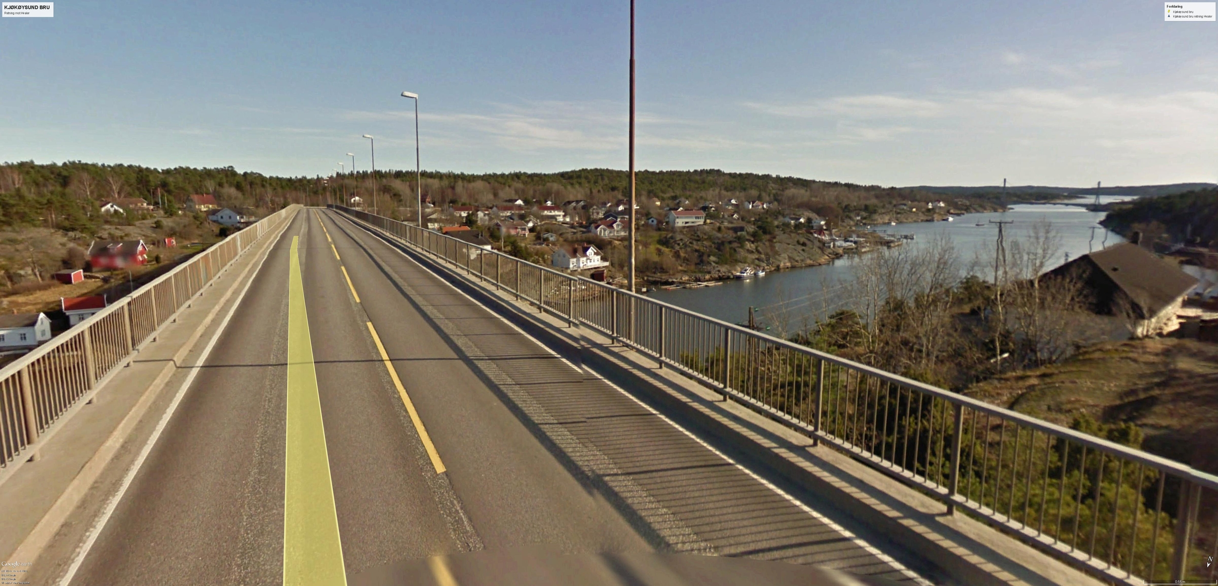 Kjøkøysund bru, retning Hvaler. Puttesund bru kan skimtes til høyre i bildet. © GOOGLE EARTH