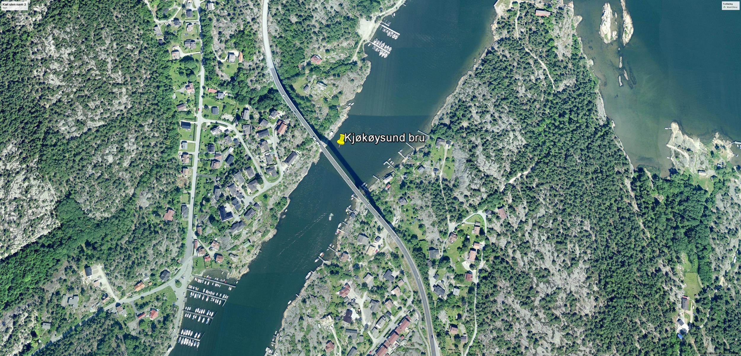 Kjøkøysund bru er den nest siste broen du kjører over for å komme bilveien til Hvaler. © GOOGLE EARTH