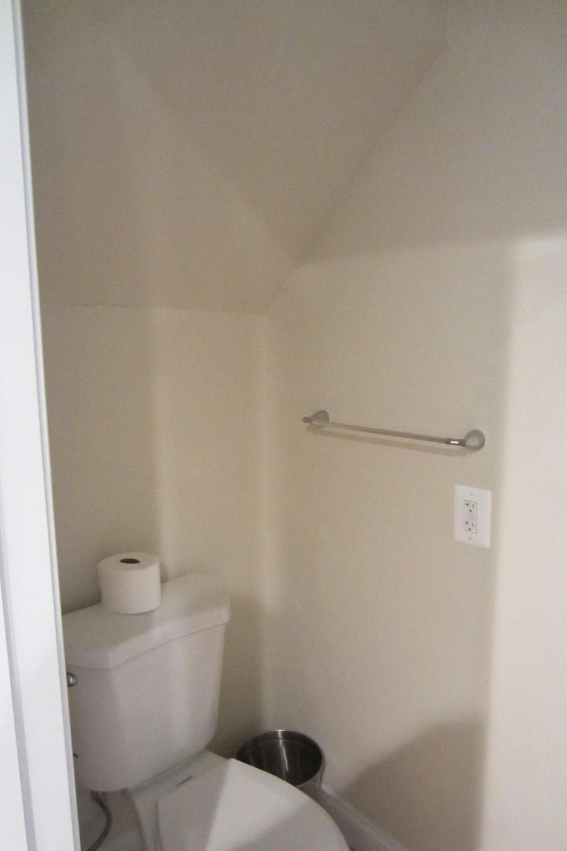 Powder room toilet before