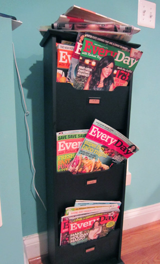 Messy magazine rack