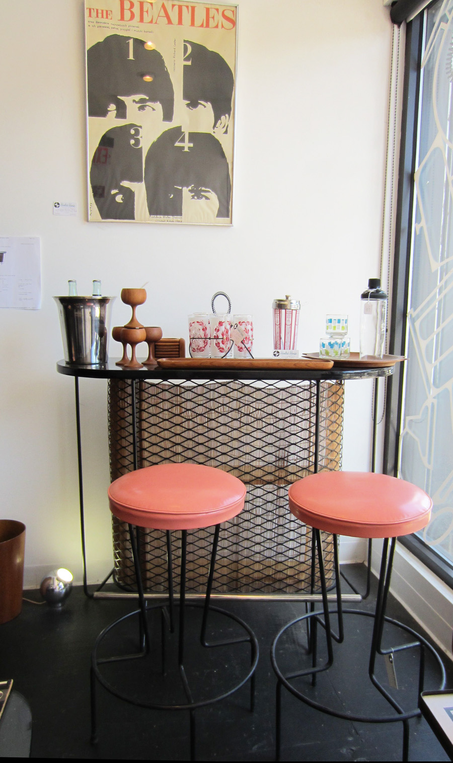 1960s Danish Mid-Century Bar with Salmon Stools