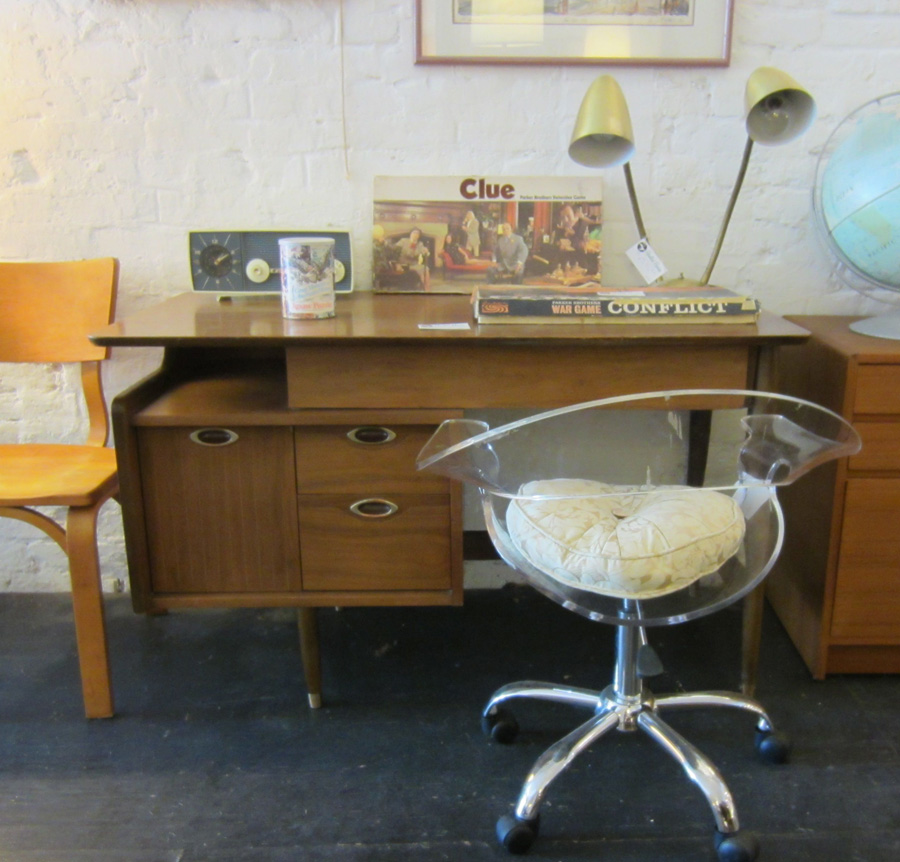 Lucite desk chair and danish mid century desk with brass desk lamp.