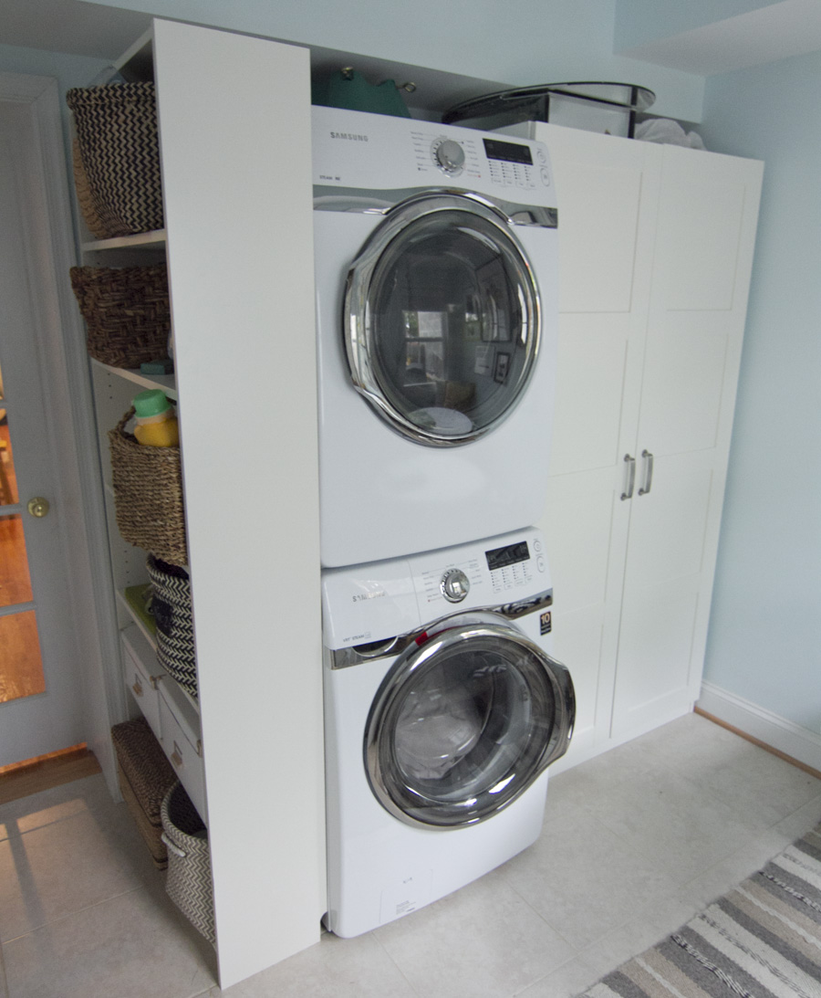 Stacking Samsung washer and dryer open up space for an Ikea PAX wardrobe and Billy bookcase