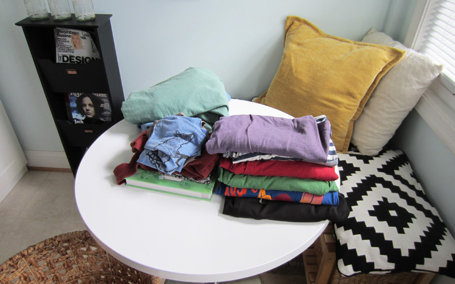 Breakfast table serves as folding table in the laundry room
