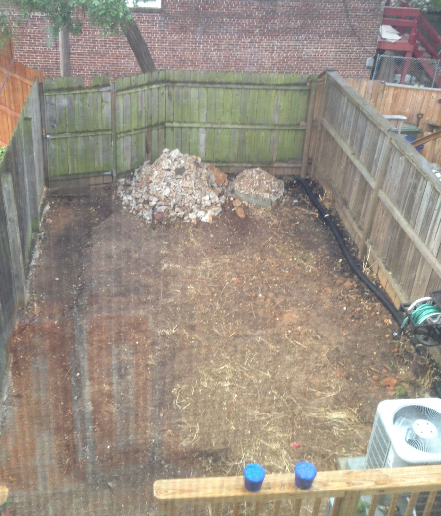 Before: Backyard after digging up the concrete and weeds