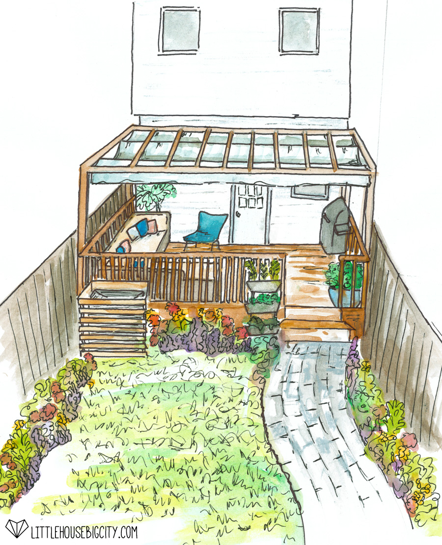 Big plans for the Little House's back yard include a pergola with retractable shade and a paver pathway