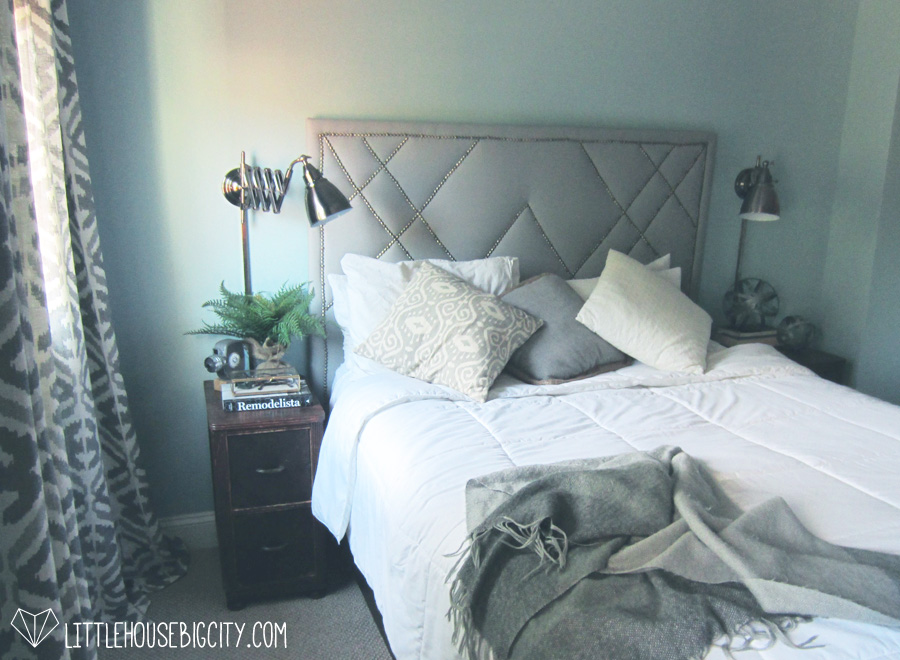 How to build a West Elm knock-off upholstered headboard with decorative nailhead trim