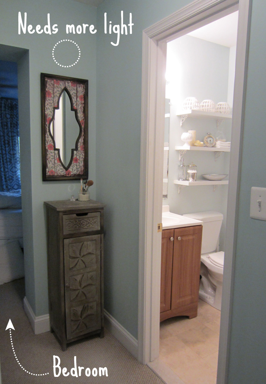 A very small vanity outside our very small master bathroom