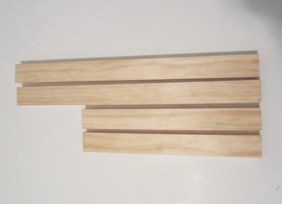 Pine trim cut to create a frame