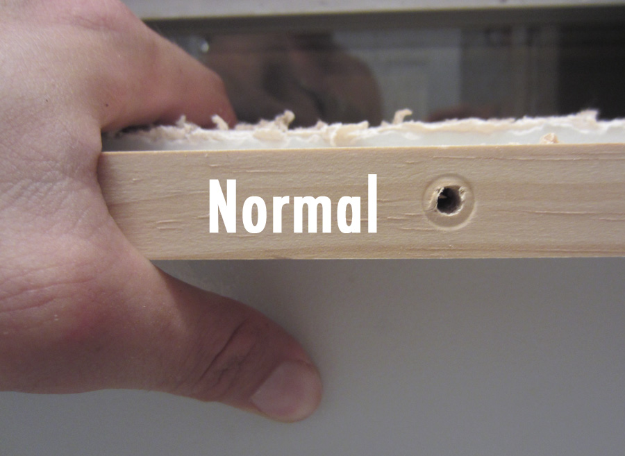 What the pre-drilled hole looks like if you don't countersink