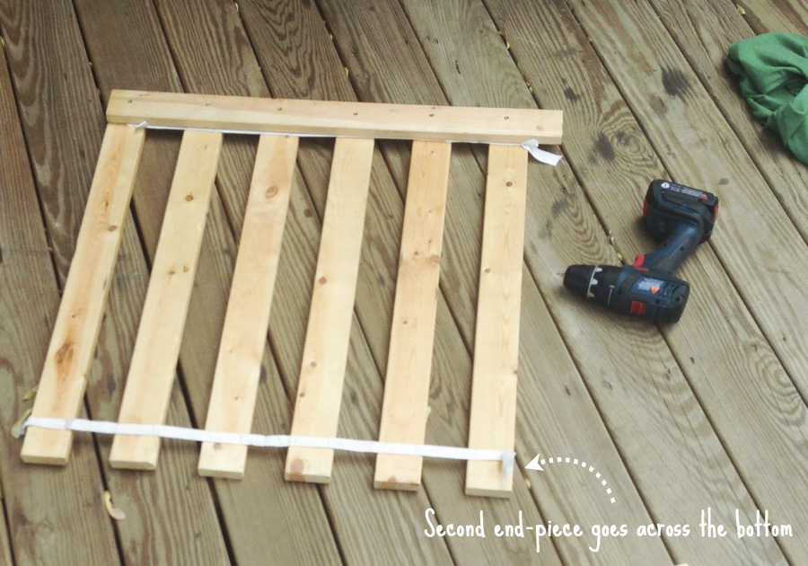 Create an AC cover from wood bed-frame slats