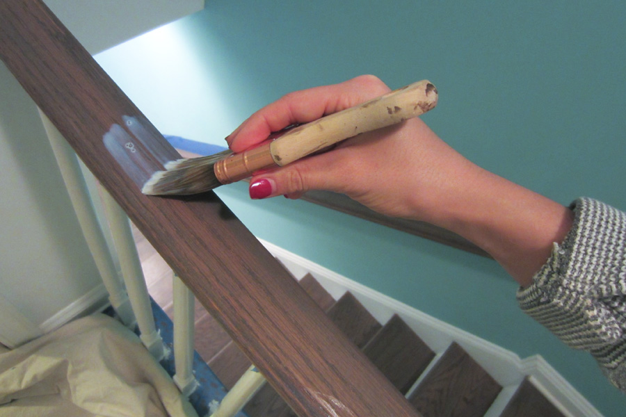 I applied 3 coats of water-based ply to the hand rails