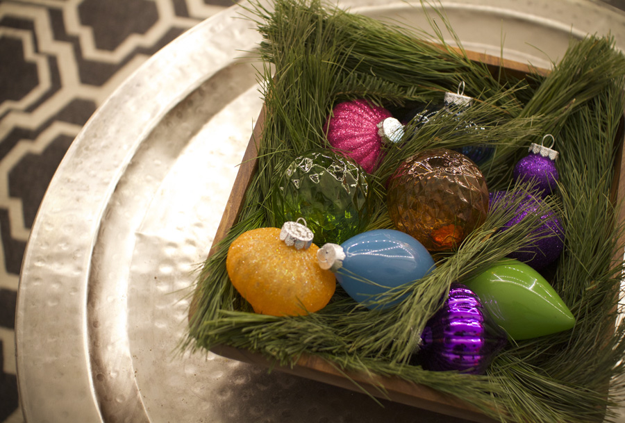 Ornaments in a bowl can make any corner festive