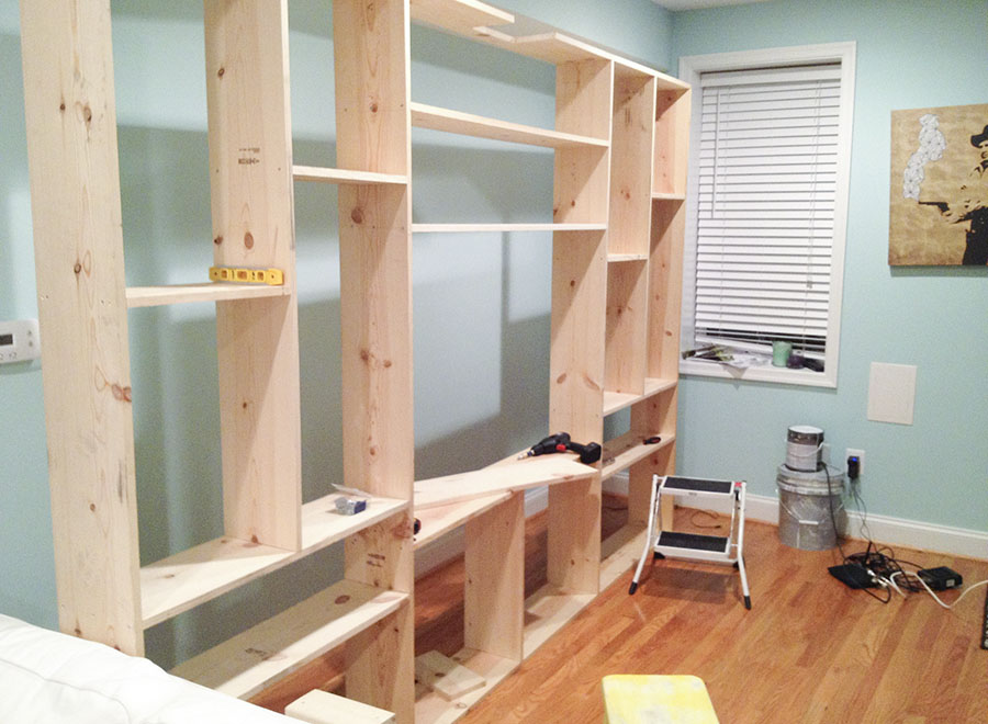 Constructing custom built-in shelving