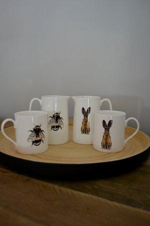 Black matt lacquer bamboo tray £36 | Bee and Hair fine bone china mugs £12.95 | Bee and Hare fine bone china 1 pint jugs £21.50
