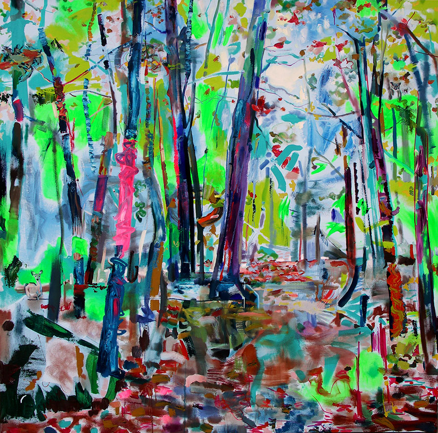 Landscape in Pink & Lime Green, oil on canvas, 6 x 6 feet.
