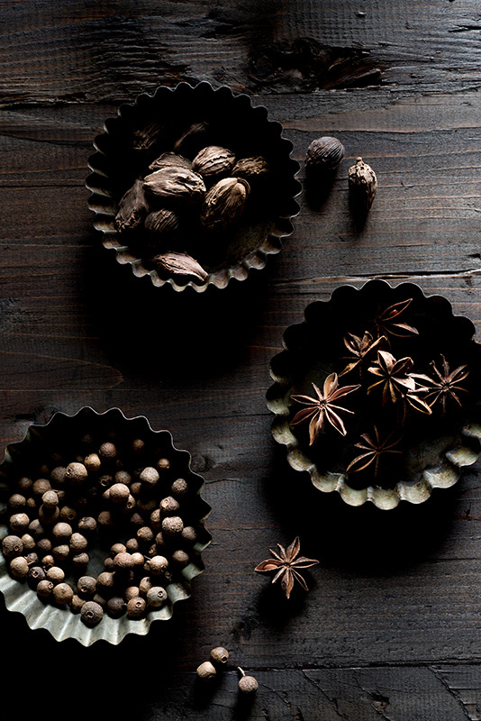 Spices –Cardamom Pods, Star Anise and Allspice Berries Food Stock Photo