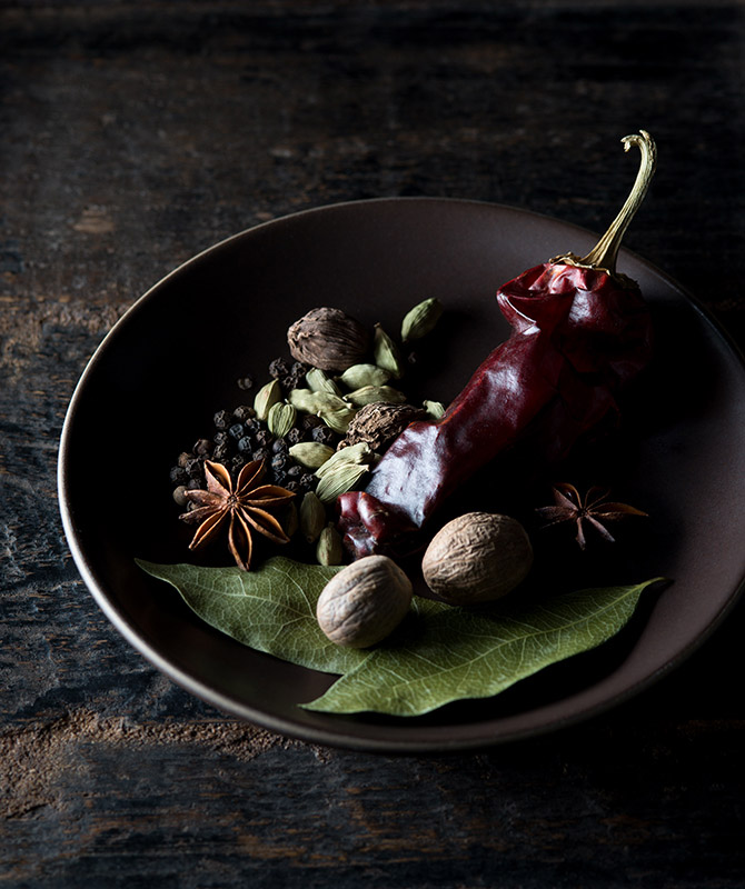 Spices on a Plate Food Stock Photo