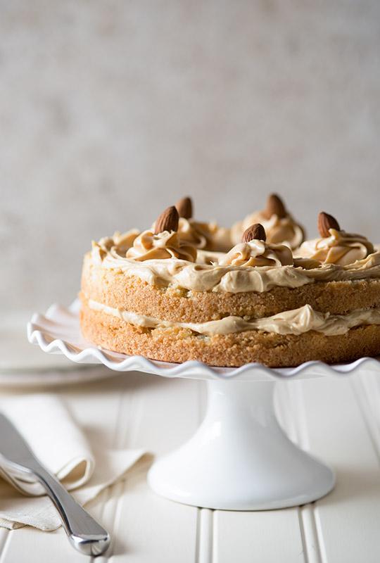Caramel Almond Cake Food Stock Photo