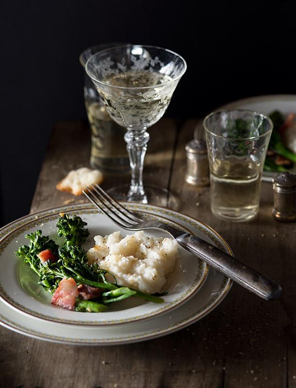 Broccoli with Bacon and Polenta Food Stock Photo