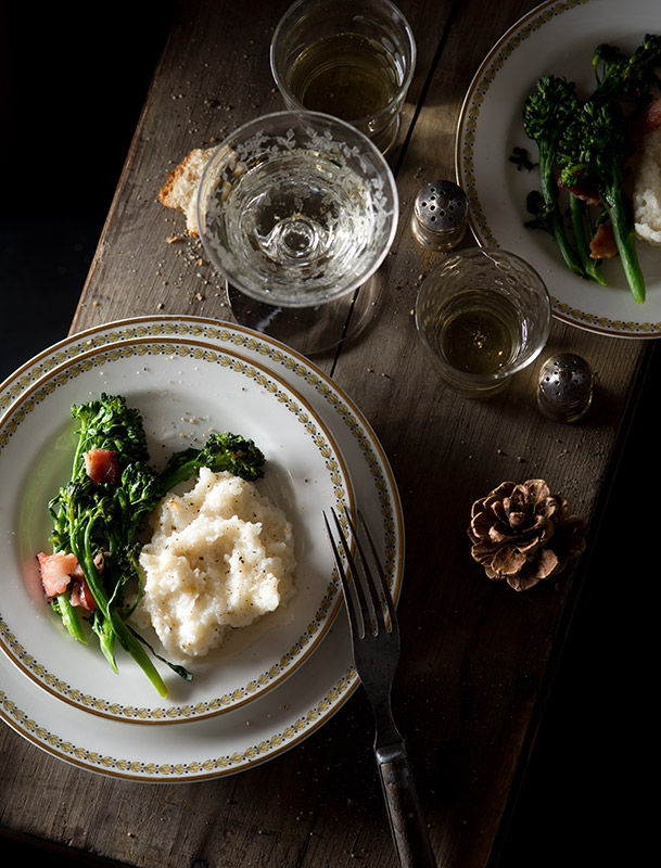 Meal of Broccoli with Bacon and Polenta Food Stock Photo