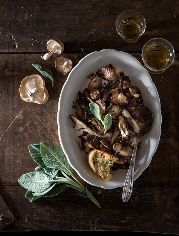 Roasted Mushrooms with Sage and Grilled Bread Food Stock Photo