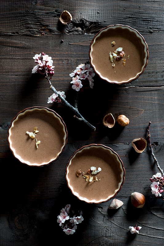Chocolate Hazelnut Panna Cotta Stock Food Photo
