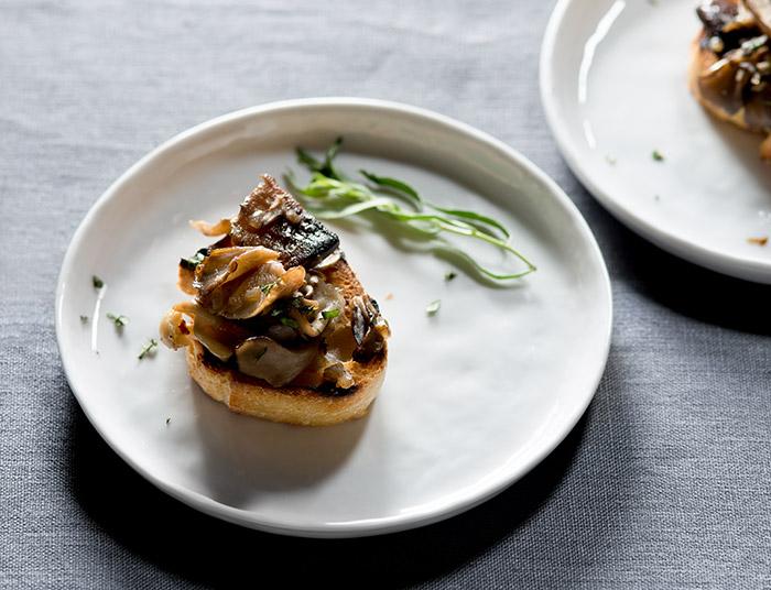 Mushroom Bruschetta with Tarragon Stock Food Photo