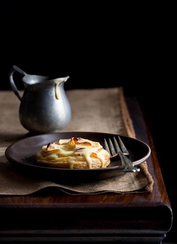 Rustic Apple Tart with Custard Cream Sauce Stock Food Photo