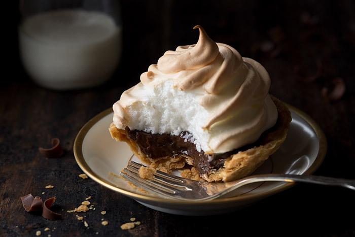 Chocolate Meringue Mini Tart Stock Food Photo