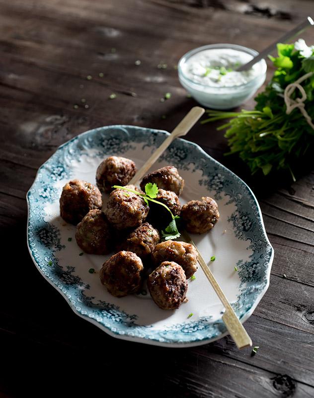 Coriander Cilantro Meatballs with Tzatziki Stock Food Photo
