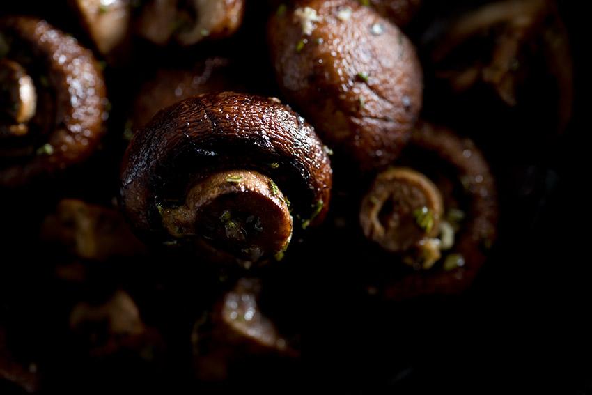 Roasted Crimini Mushrooms Stock Food Photo