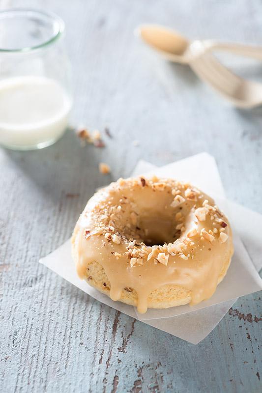 Toasted Hazelnut Brown Butter Caramel Donut Stock Food Photo