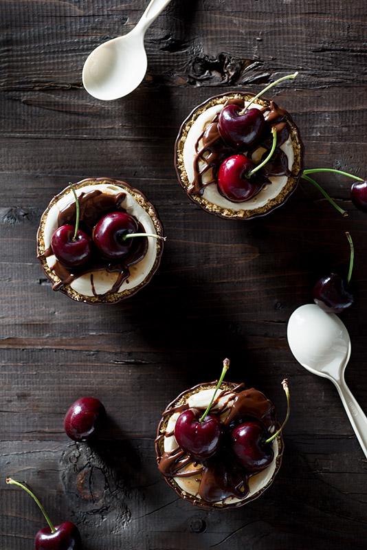 Cherry S'mores Mini Pies Stock Food Photo