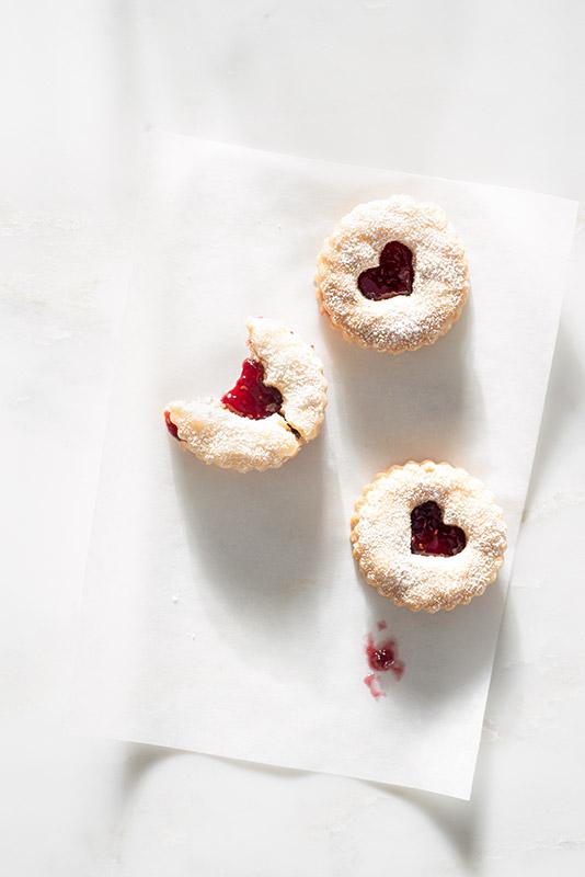 Linzer Cookies with Raspberry Jam Stock Food Photo