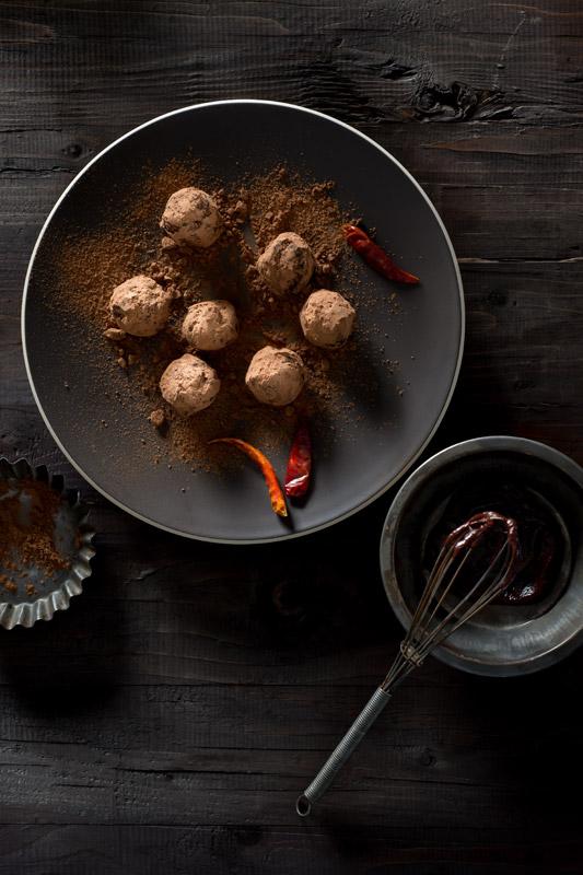 Chili Chocolate Truffles Stock Food Photo