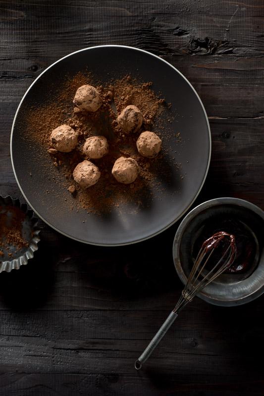Chocolate Ganache Truffles Stock Food Photo