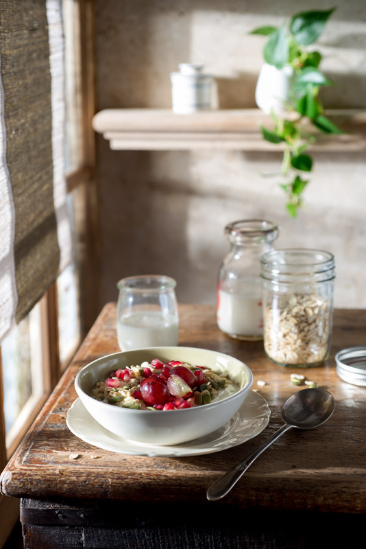 Muesli Breakfast with Fruit on a Farmhouse Table Stock Food Photo