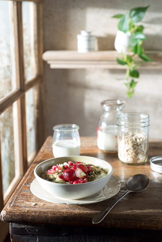 Muesli Breakfast on a Farmhouse Table Stock Food Photo
