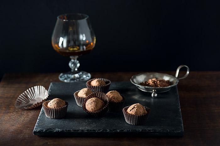 Grand Marnier Chocolate Truffles Stock Food Photo