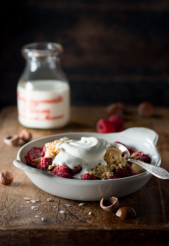 Apple Raspberry Crisp with Whipped Cream Stock Food Photo