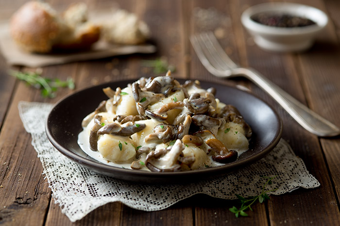 Mushrooms with Gnocchi and Cream Sauce Stock Food Photo