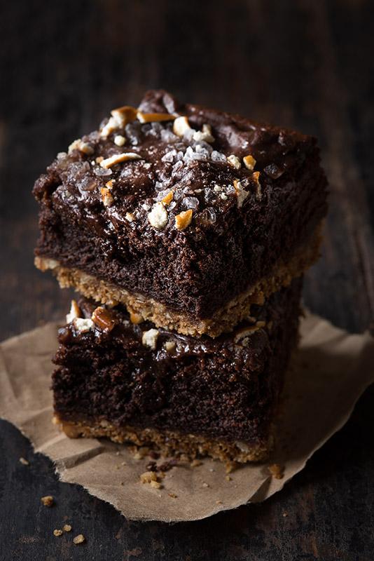 Chocolate Brownies Stack Stock Food Photo