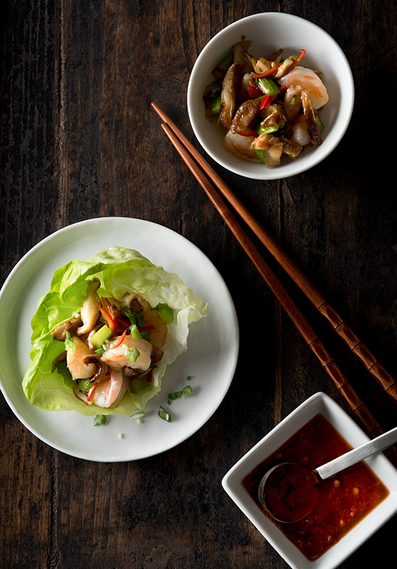 Shrimp Lettuce Cups with Sauce Stock Food Photo
