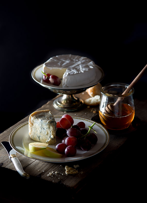 Cheese and Grapes Chiaroscuro Stock Food Photo