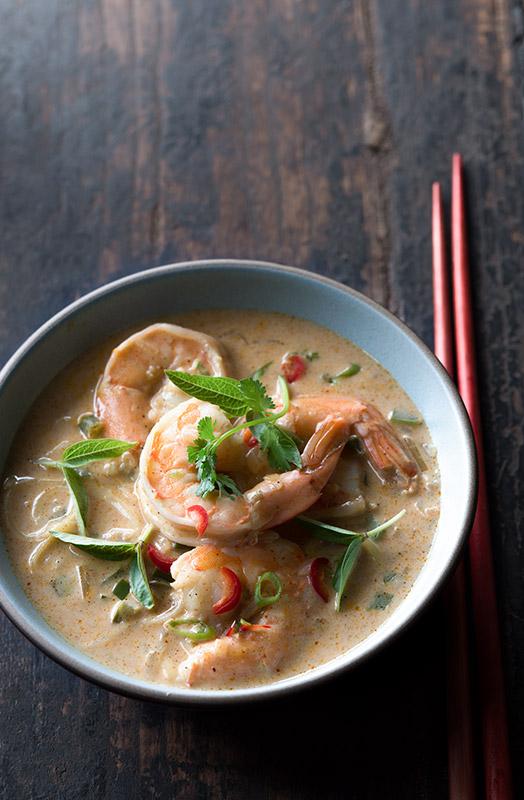 Thai Shrimp Coconut Soup Stock Food Photo