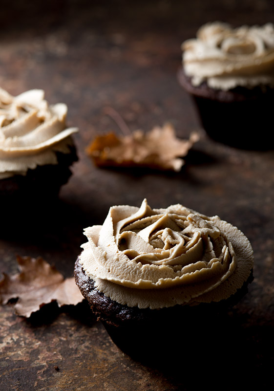 Chocolate Cupcakes with Maple Cream Frosting Stock Food Photo