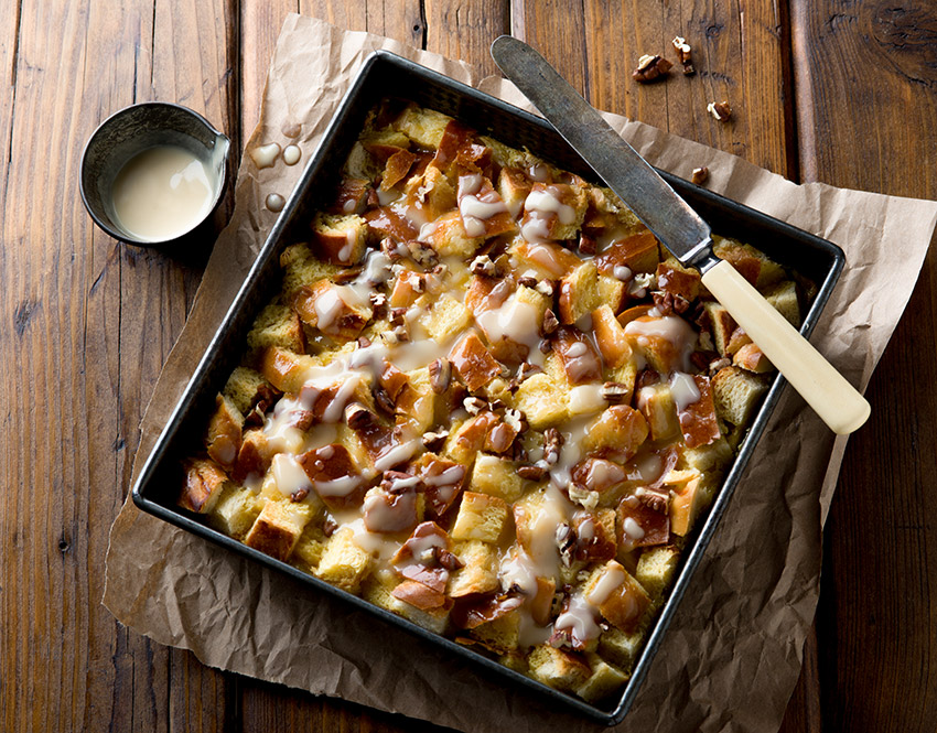 Pecan Bread Pudding with Cream Sauce Stock Food Photo