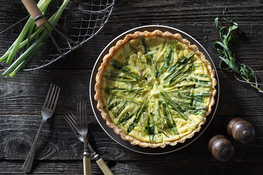 Green Onion Quiche Stock Food Photo